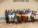 Students at the commissioning of the extended Sumbrungu Community library