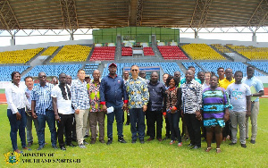 Some officials of the Sports Ministry inspecting the stadium