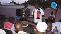 Sylvester Mensah addressing NDC members in the Upper East region