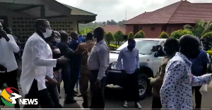 The scuffle resulted in a brief disrutpion of voting
