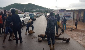 The irate youth blocked the roads