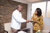 NDC Flagbearer, John Dramani Mahama and EC Chairperson, Jean Mensa