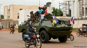 A Russian military vehicle patrols the streets of Bangui, the capital of the CAR
