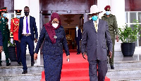 Presidents Samia Suluhu Hassan (Tanzania) and Yoweri Museveni (Uganda)