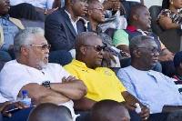 From left ex Jerry John Rawlings,Ex John Mahama(M) and John Agyekum Kufuor