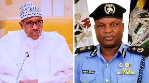President Buhari (left) with embattled cop Abba Kyari