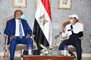 Patrice Motsepe meeting the sports minister of Egypt in Cairo