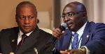 Former President John Dramani Mahama (L) and VP Dr Bawumia