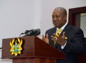 Mahama speaking at the opening of the newly-constructed modern court complex in Accra