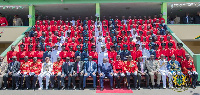 President Akufo-Addo in a group picture with officer cadets of the Ghana Armed Forces