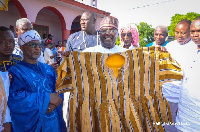 Vice President Mahamudu Bawumia together with chiefs of Nsawkaw