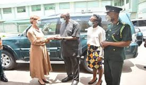 The donation was received by the Minister for the Interior, Ambrose Dery