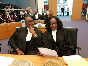 Former Attorney General, Marietta Brew Appiah-Oppong with the current one, Ms Gloria Afua Akuffo
