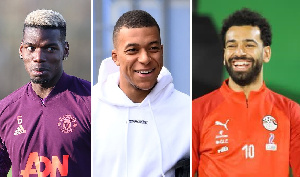 Combination photo (L - R) Pogba, Mbappe and Salah