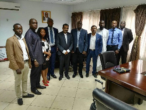 Members of the Ghana Gulf Chamber of Commerce with Ibrahim Mohammed Awal