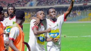 Emmanuel Gyamfi (R) scored two goals in the match