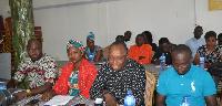 Salifu Issifu Kanton, PAAC Convener (M) with executives of the anti-corruption group