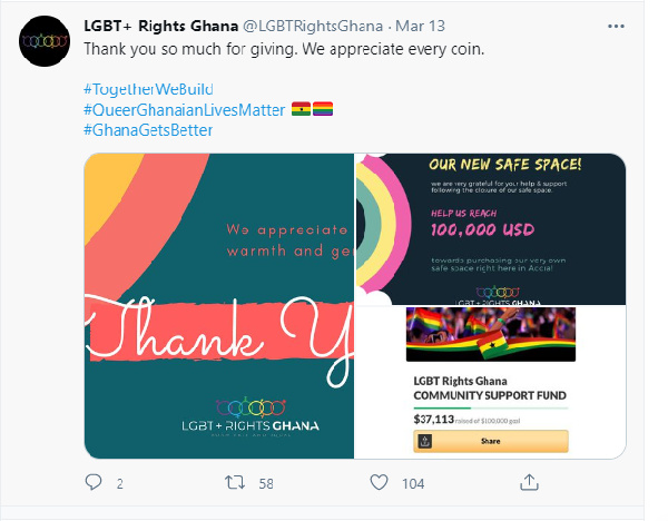 Ghana's LGBT+ group raises $37k to acquire new office. 49