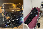The wrecked car and Yomi casual on a hospital bed receiving treatment