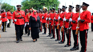 Tanzanian President Samia Suluhu Hassan inspects a guard of honour (PHOTO | PSU)