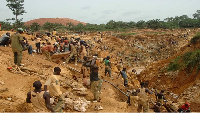 Workers at a mining concession