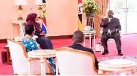 President Yoweri Kaguta Museveni in a meeting with Tanzanian President Samia Hassan