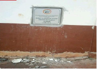 The new plaque at Abesim Methodist Primary with grounds showing it was broken and re-affixed