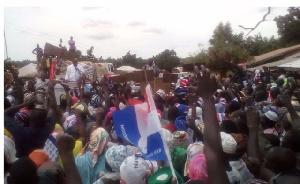 Dr. Mahamudu Bawumia and Nana Addo addressing Bunkpurugu residents in the Northern region.