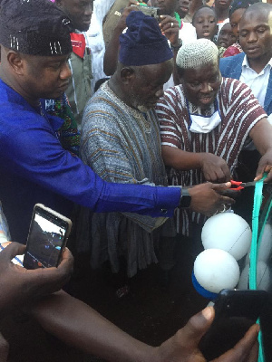The mechanised boreholes being commissioned
