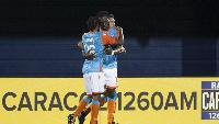 Kwadwo Poku celebrating his goal with a mate
