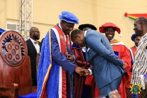 University of Education, Winneba VC exchanging pleasantries with Afenyo Markin