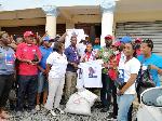 Members of the DPG donating t-shirts to NPP's parliamentary candidate Akwasi Afrifah-Mensah