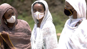File photo of women in a nose mask
