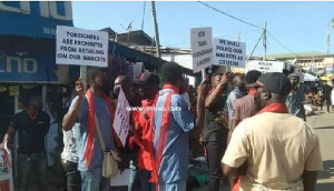 Protesting traders lock up shops of foreigners in Koforidua