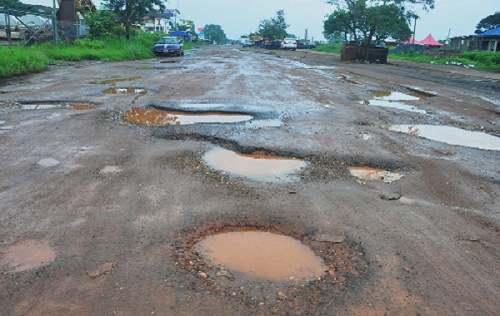 A photo of potholes on a road
