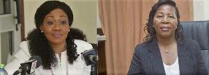 Jean Mensa (L), Justice Dr Jane Mayemu` Ansah (R)