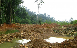 File photo of an abandoned galamsey site