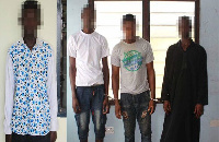 Dennis Boakye (left) and three suspects in the lotto agent murder (right)
