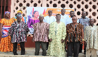 The Rebecca Foundation Medical Outreaach members with the DCE and Traditional Leaders of Mirigu