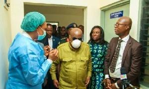 The President, Nana Akufo Addo, in a protective COVID-19 mask