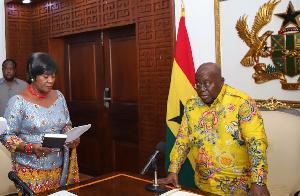 Late Ambassador Eudora taking oath from President Akufo-Addo in 2019