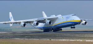 The Antonov An-225 Mriya, a strategic cargo flight, arrived at the KIA for a short stop