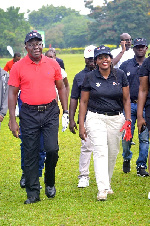 Asantehene Otumfuo Osei Tutu II with Vodafone CEO Yolanda Cuba at the golf course