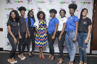 Martha Ankomah in African print with others at the launch of Hellodelivery