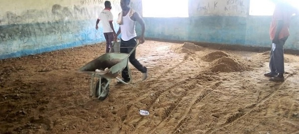 The floor of the lower primary block classrooms have been lifted for reconstruction