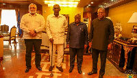 Former Presidents Mahama, John Rawlings and John Kufuor in a pose with President Nana Addo