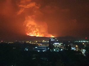 Social media photo showing the reuption of the Mount Nyiragongo valcano