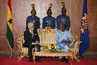 EU ambassador to Ghana William Hanna with Prez Mahama
