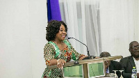 Shirley Ayorkor Botchway, Ghana's Foreign Affairs Minister addressing a gathering