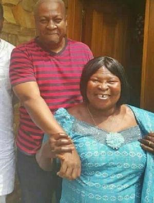 Founder of the Ghana Freedom Party, Mrs. Akua Donkor pose with former President John Mahama